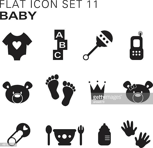 flat icons 11 - baby - toy rattle stock illustrations