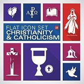 Flat icons 23 Christianity and Catholic Religious - Illustration