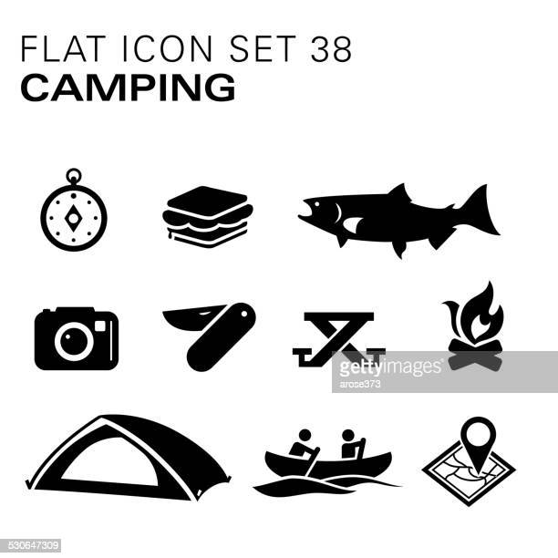 Flat icons 38 Camping - Black