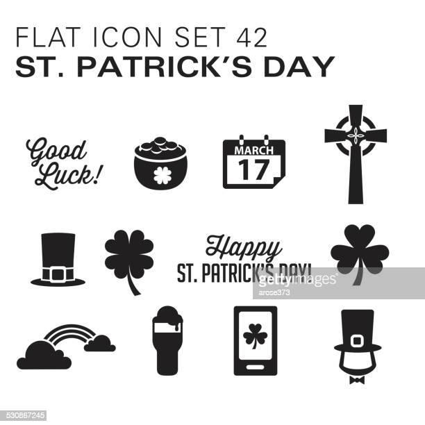 flat icons 42 st. patrick's day - black - celtic cross stock illustrations, clip art, cartoons, & icons
