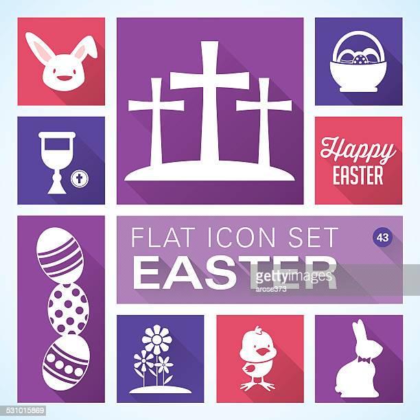 ilustrações, clipart, desenhos animados e ícones de ícones plana de 43 páscoa - cesta de páscoa