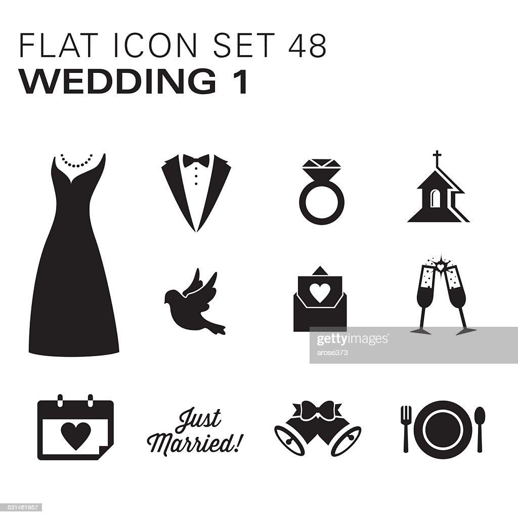 Flat icons 48 Wedding 1 - Black : stock illustration