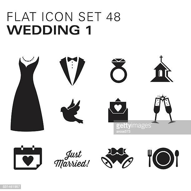Flat icons 48 Wedding 1 - Black