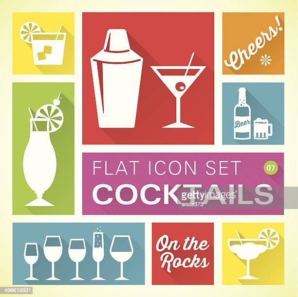 flat icons 7 cocktails & drinks - frozen drink stock illustrations