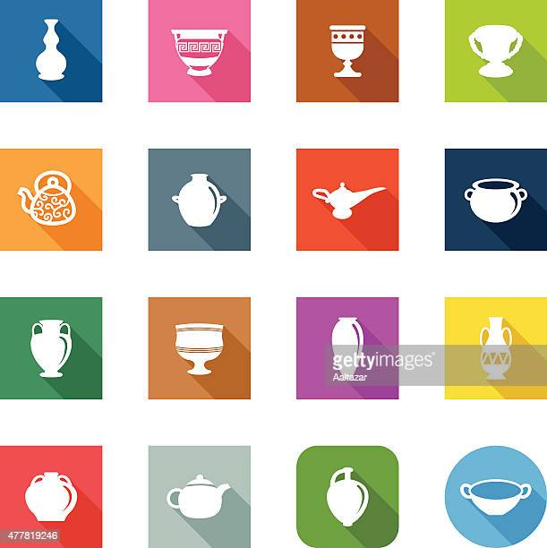 flat icons - ancient pottery - pottery stock illustrations, clip art, cartoons, & icons
