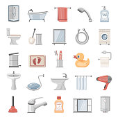 Flat Icons - Bathroom Elements