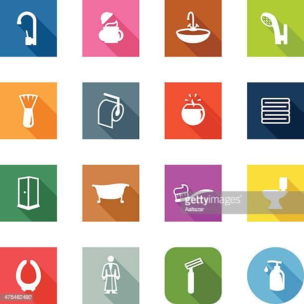 illustrations, cliparts, dessins animés et icônes de plat icônes-salle de bains - cuvette des toilettes