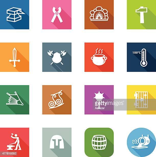 flat icons - blacksmith - cauldron stock illustrations, clip art, cartoons, & icons