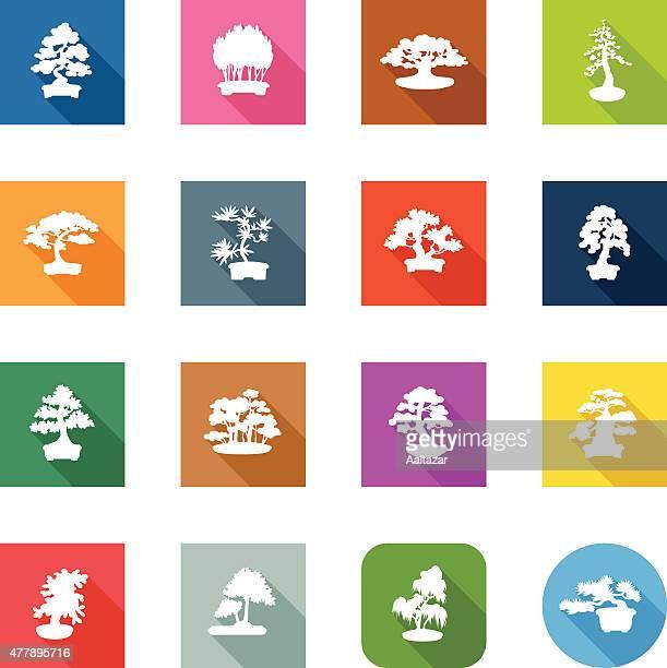 flat icons - bonsais - cedar tree stock illustrations, clip art, cartoons, & icons