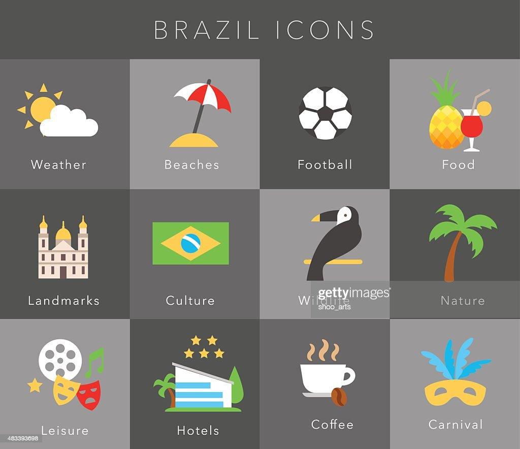 Flat icons Brazil, vector set