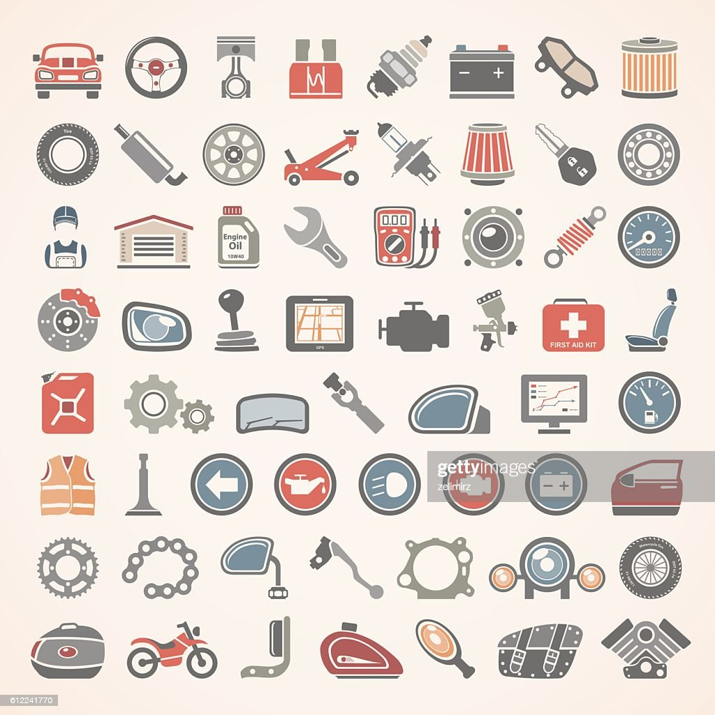 Flat Icons - Car and Motorcycle Parts