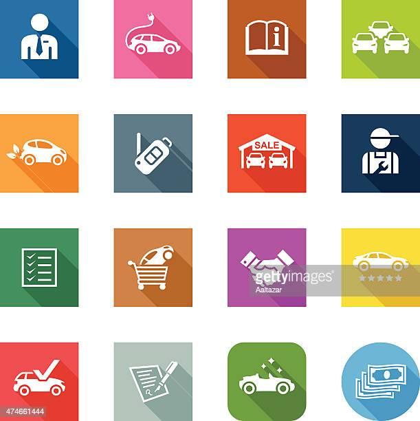 flat icons - car dealership - car ownership stock illustrations, clip art, cartoons, & icons