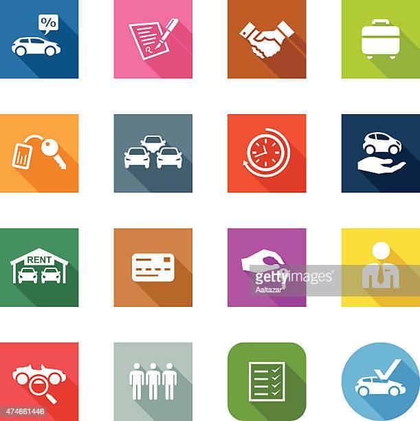 ilustraciones, imágenes clip art, dibujos animados e iconos de stock de iconos plana de alquiler de automóviles - alquiler de coche