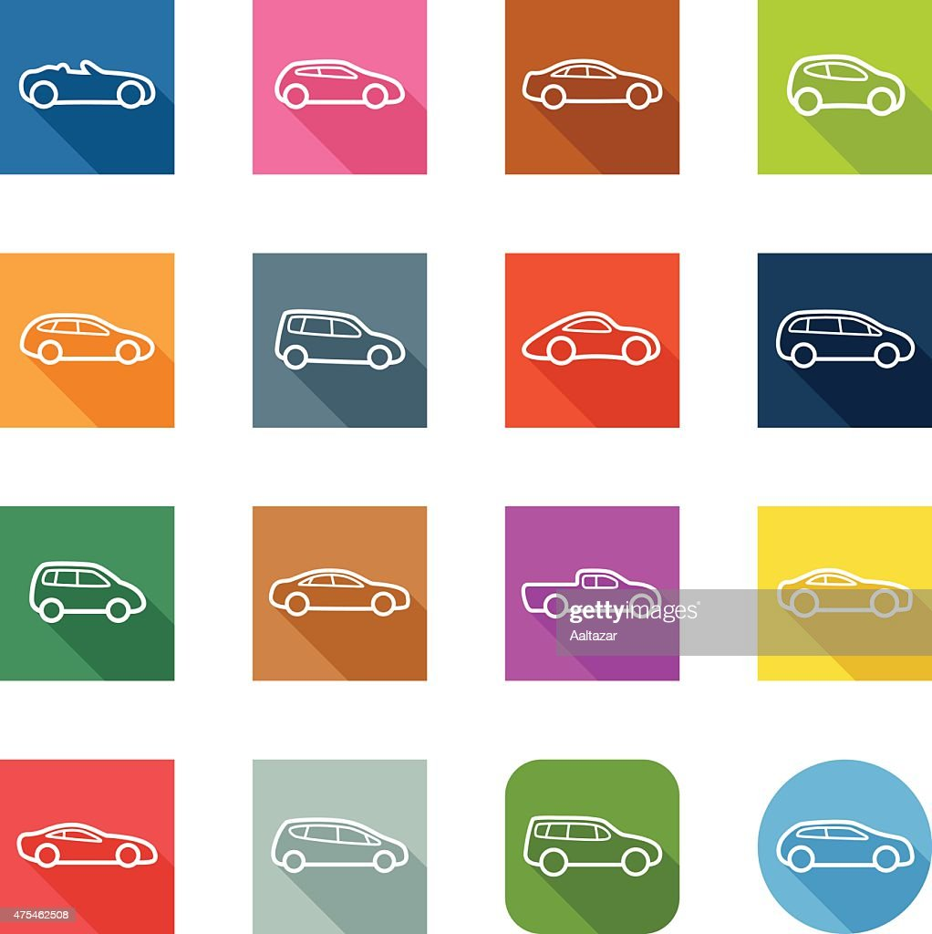 Flat Icons - Cars Outline : stock illustration