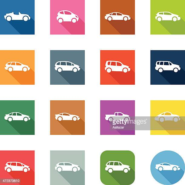 flat icons - cars - hatchback stock illustrations, clip art, cartoons, & icons