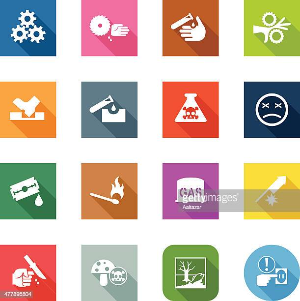 flat icons - caution - power tool stock illustrations, clip art, cartoons, & icons