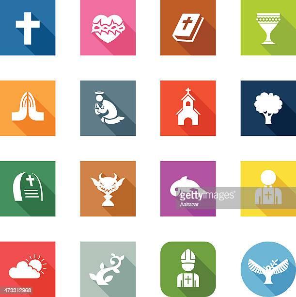 flat icons - christian - religious symbol stock illustrations