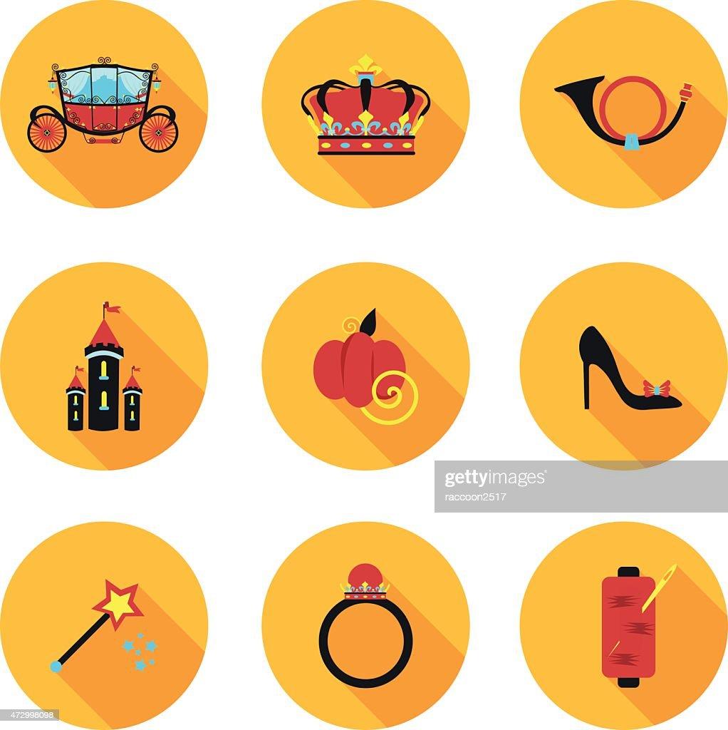 flat icons Cinderella