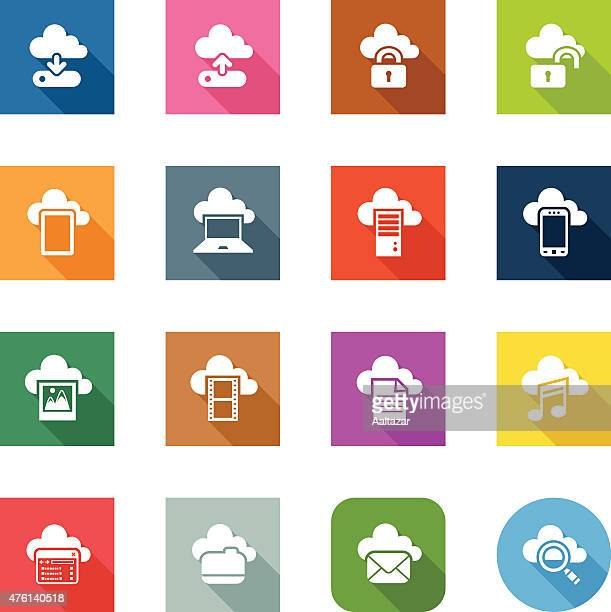 flat icons - cloud computing - hard drive stock illustrations, clip art, cartoons, & icons