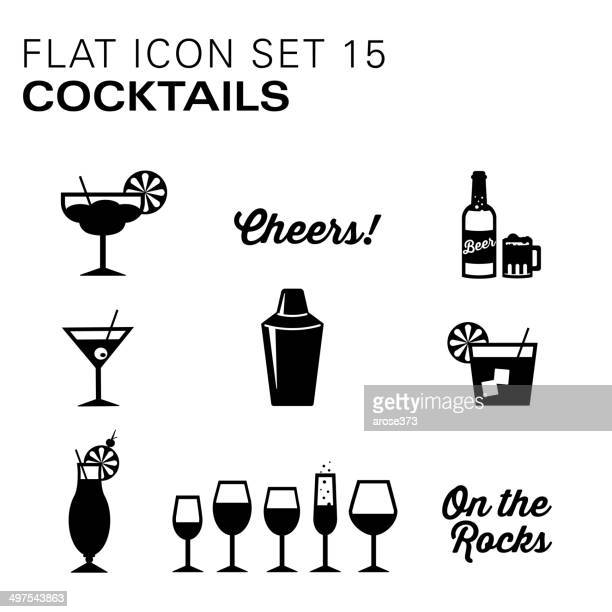 flat icons - cocktails - frozen drink stock illustrations