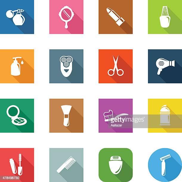 ilustraciones, imágenes clip art, dibujos animados e iconos de stock de iconos plano de productos cosméticos - maquillaje para ojos