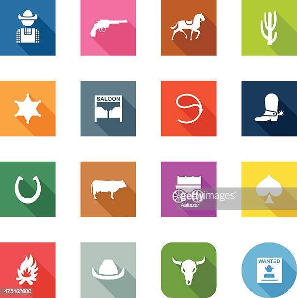 flat icons - cowboy - cowboy hat stock illustrations, clip art, cartoons, & icons