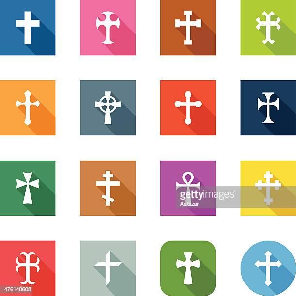 flat icons - crosses - celtic cross stock illustrations, clip art, cartoons, & icons