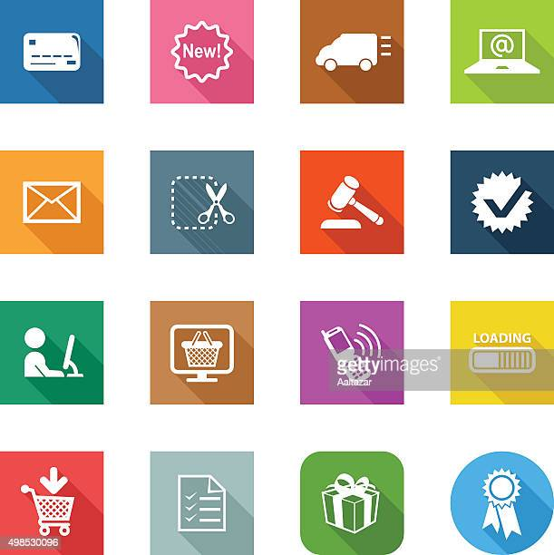 flat icons - e-commerce - labeling stock illustrations, clip art, cartoons, & icons