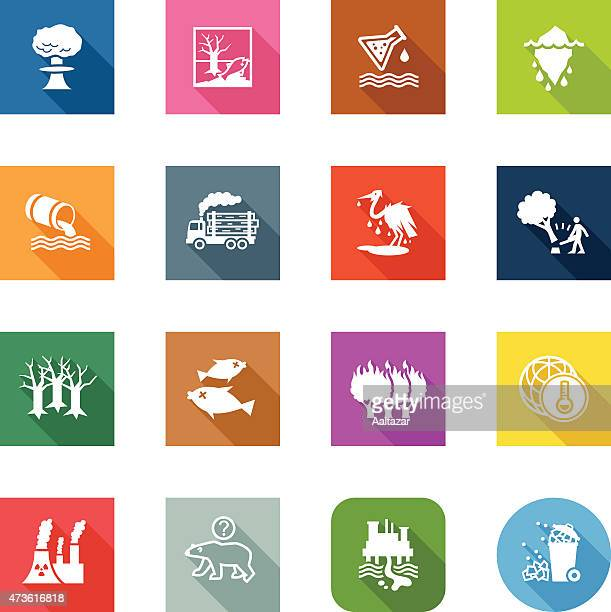 flat icons - environmental damage - water pollution stock illustrations