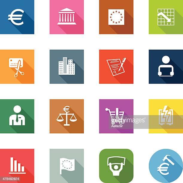 flat icons - european union - european union euro note stock illustrations, clip art, cartoons, & icons