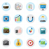 Flat Icons For Business Icons and Finance Icons Vector Illustration