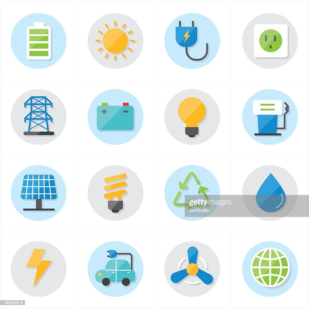 Flat Icons For Environment Icons and Ecology Icons Vector Illustration