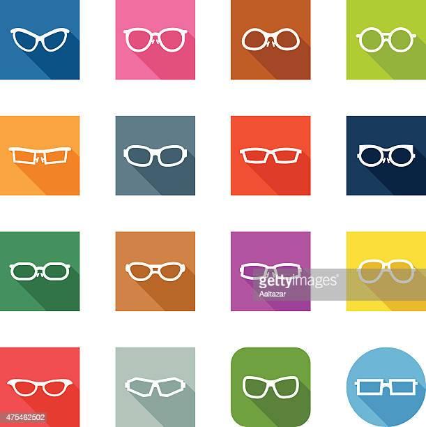 flat icons - glasses - cat's eye glasses stock illustrations