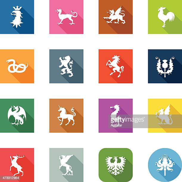 flat icons - heraldic animals - griffin stock illustrations, clip art, cartoons, & icons