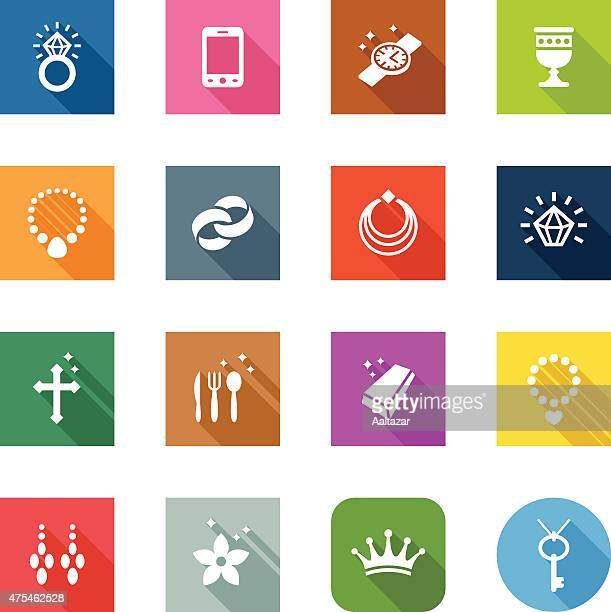 flat icons - jewellery - necklace stock illustrations, clip art, cartoons, & icons