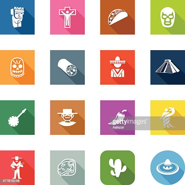 flat icons - mexico - sombrero stock illustrations