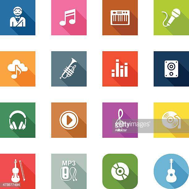 flat icons - music - soundtrack stock illustrations, clip art, cartoons, & icons