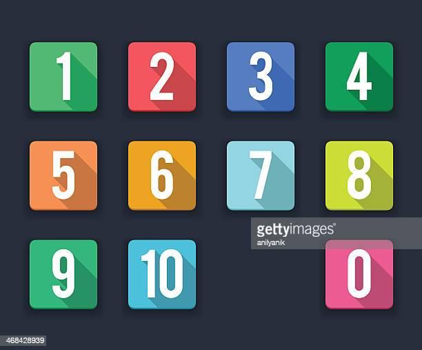 flache symbole/nummern - zahl stock-grafiken, -clipart, -cartoons und -symbole