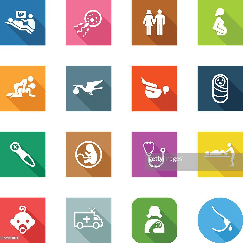 Flat Icons - Pregnancy : stock illustration