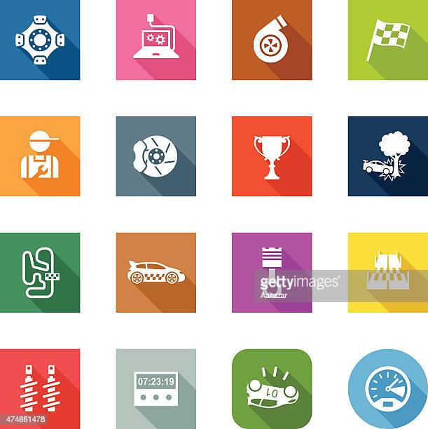 flat icons - rally - rally car racing stock illustrations, clip art, cartoons, & icons