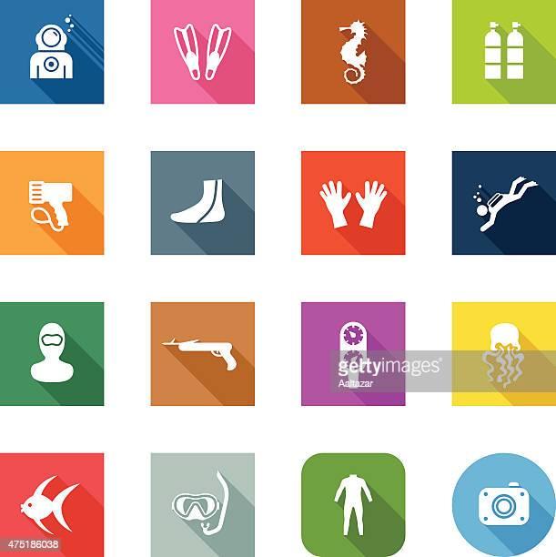 flat icons - scuba diving - snorkel stock illustrations