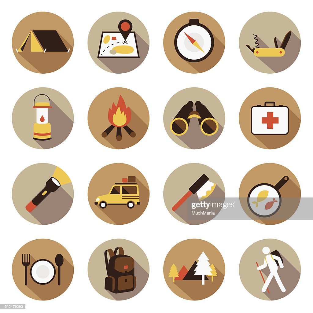 Flat icons set : Adventure & Camping, Trips & Travel