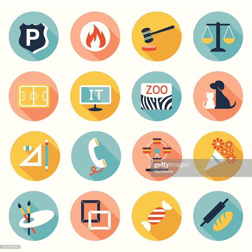 Flat icons set : Destination, Place for Map