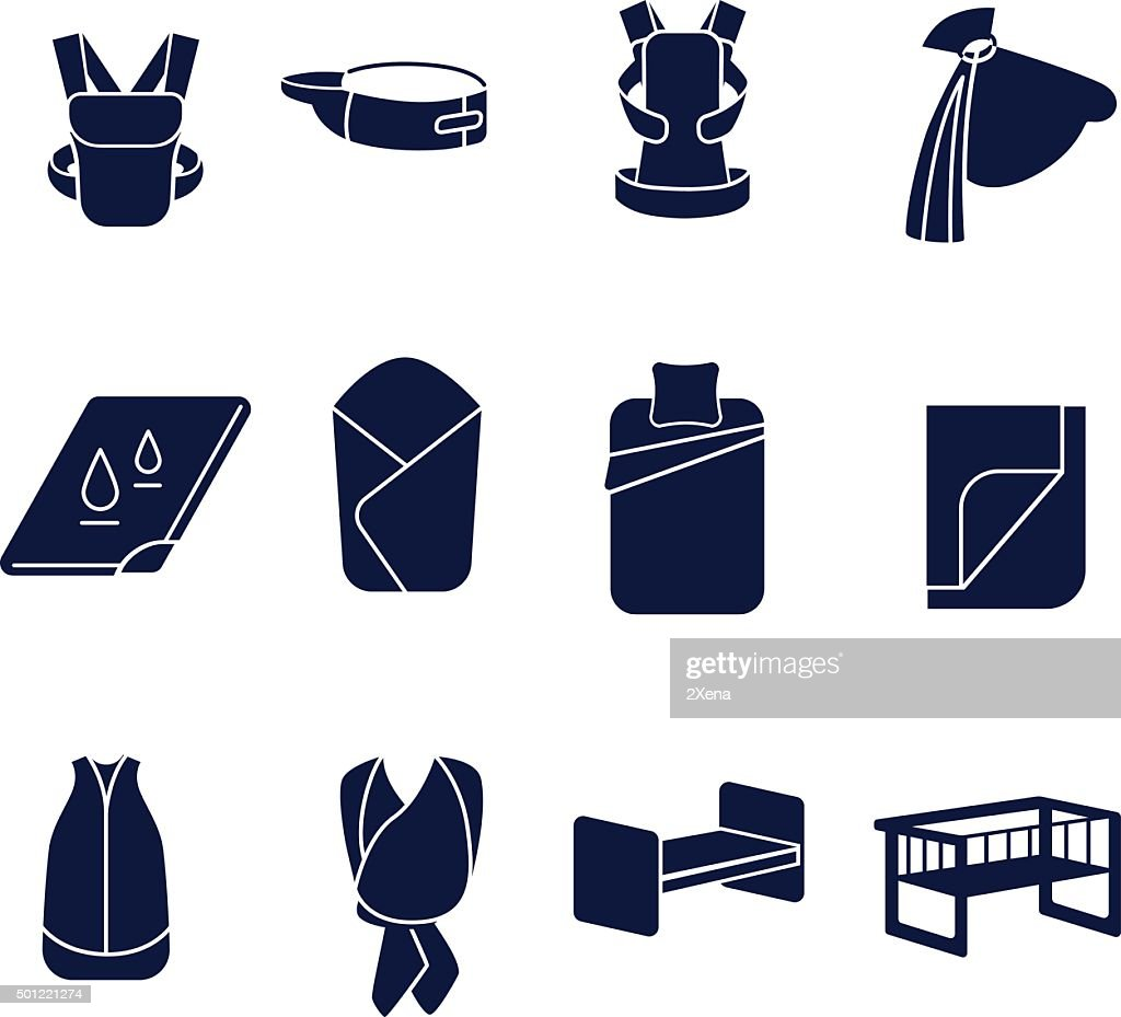 Flat icons set for carrying a baby and sleeping