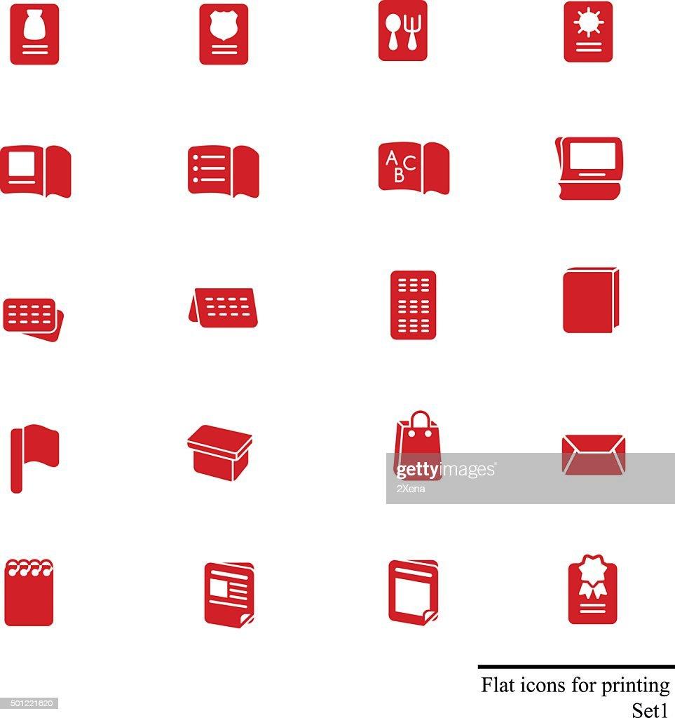 Flat icons set for printing stuff