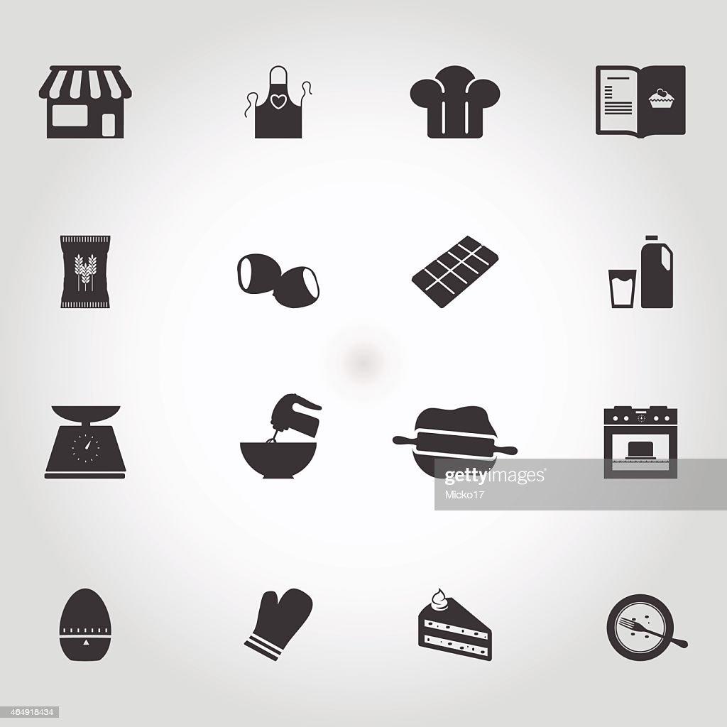 Flat icons set - Making cakes icons