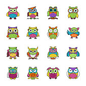 Flat icons set of owls