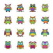 Flat icons set of owls