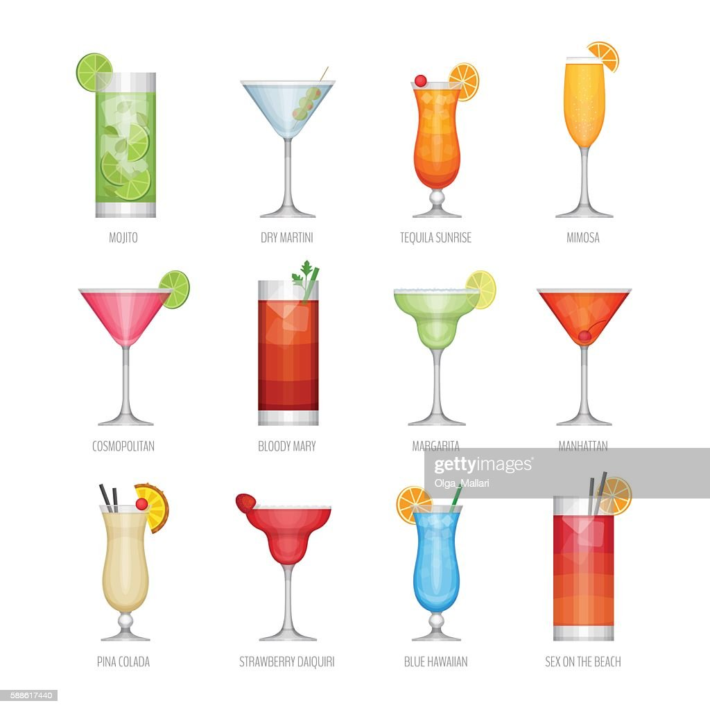 Flat icons set of popular alcohol cocktail.