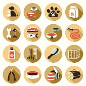 Flat icons set : Pet, Cat & Dog Object